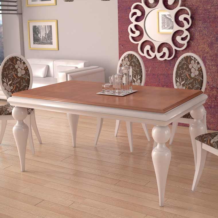 Mesa de comedor bola fija o extensible de patas torneadas for Mesas de madera precios