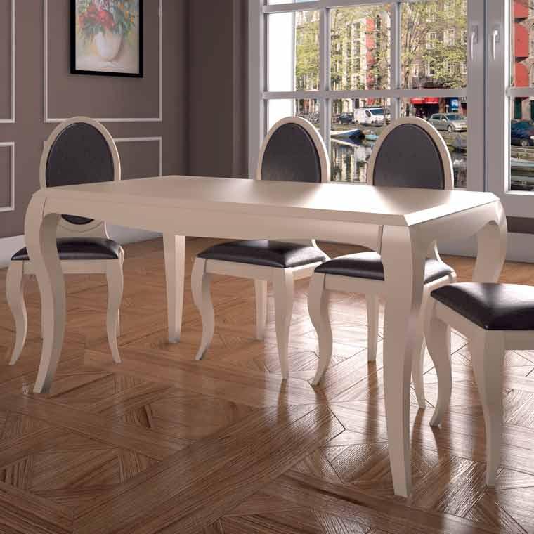 Mesa comedor soria 4 sillas lisboa pata isabelina - Mesas de comedor medidas ...