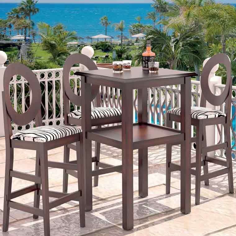 Mesa de bar alta 4 taburetes sfera for Mesas de comedor altas