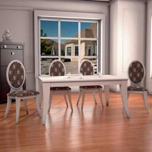 Conjunto de Comedor Mesa Lisboa Forma + 4 Sillas Lisboa Forma