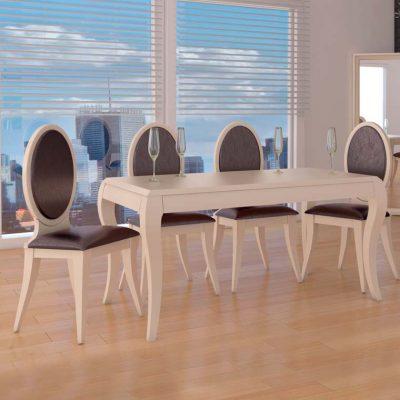 Conjunto de Mesa Comedor Sofía + 4 Sillas Lisboa Pata Forma