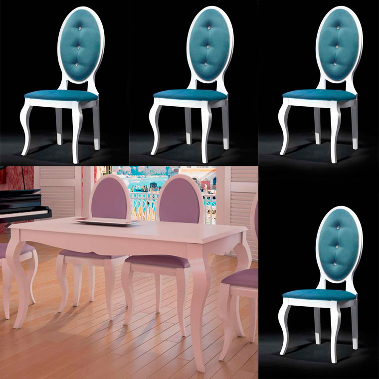 Mesa comedor extensible y 4 sillas isabelinas oferta for Conjunto mesa extensible y sillas comedor
