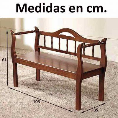 Medidas Marquesita con respaldo de 100 cm.