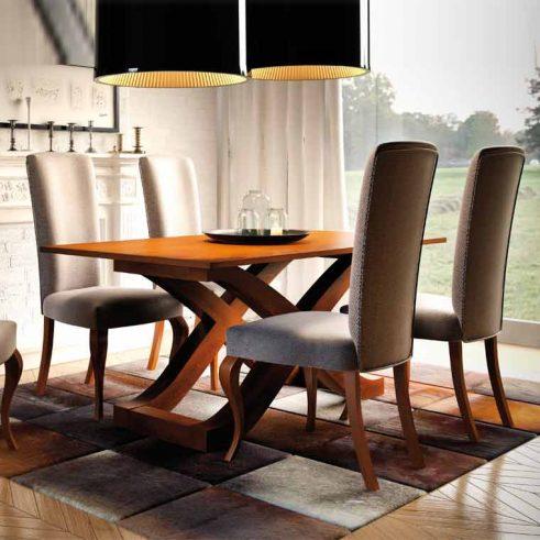 Conjunto de Mesa Comedor Capri y 4 Sillas tapizadas modelo Alaska