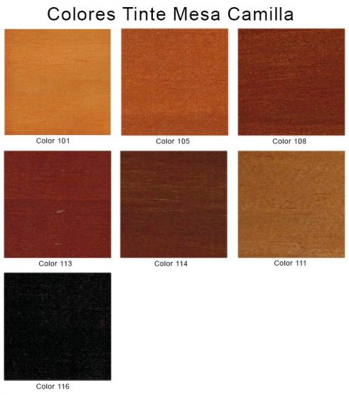 Colores tinte para mesa de camilla