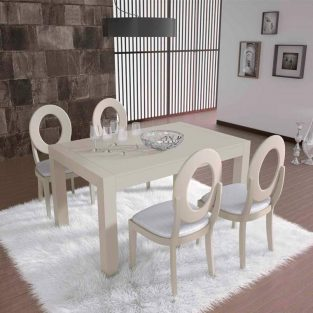 Conjunto de mesa comedor Lucena y sillas Sfera pata aguja