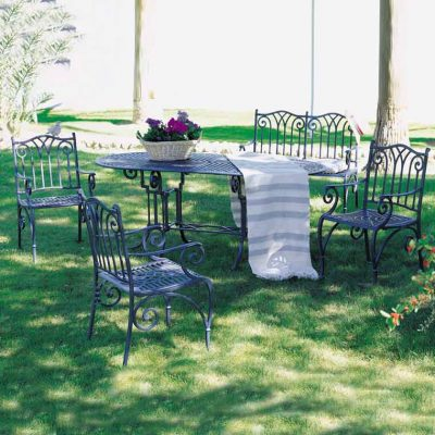 mesa ovalada teide marbella con sillones zahara