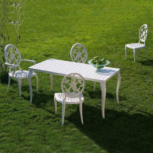 mesa rectangular kenia + 3 sillas y 1 sillon versalles