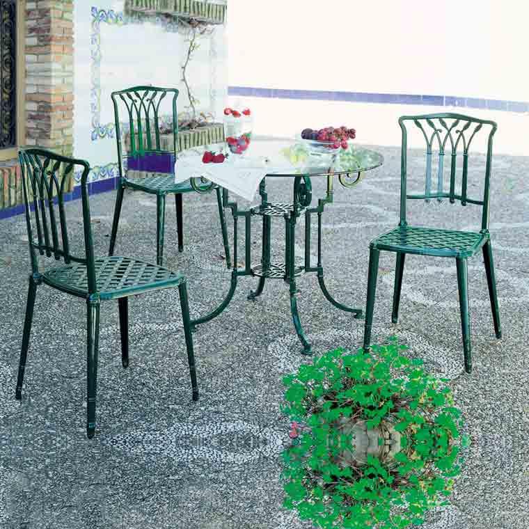 Mesa de jard n teide cristal y sillas de jard n jerez for Mesa de cristal y 4 sillas