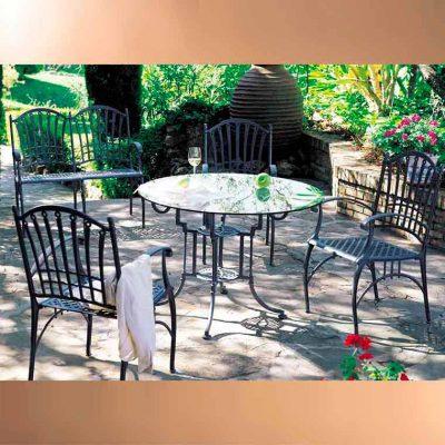 mesa teide cristal y sillones genova
