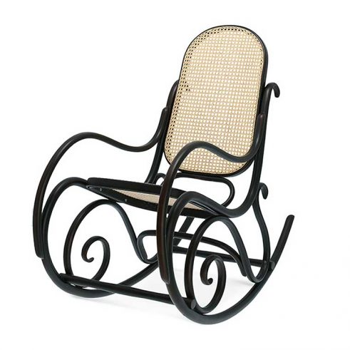 Mecedora caracolas en haya, asiento y respaldo rejilla. Para hostelería