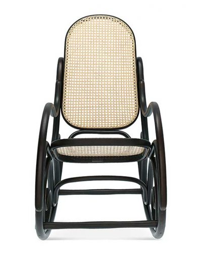 Mecedora caracolas en haya, asiento y respaldo rejilla. Frente. Para hostelería