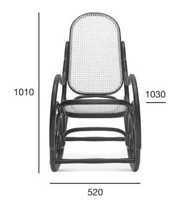 Medidas Mecedora caracolas en haya, asiento y respaldo rejilla. Para hostelería