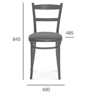 Medidas silla madera de haya 0919. Para hostelería