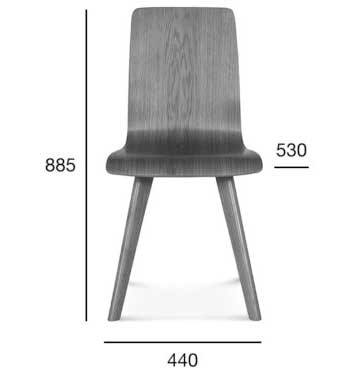 Medidas Silla madera de haya o roble Cleo 1. Para hostelería