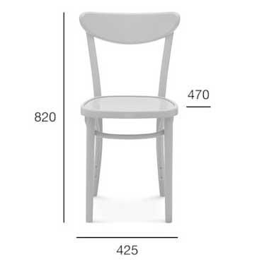 Medidas silla madera de haya 1260. Para hostelería