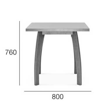 Medidas Mesa cuadrada en madera de haya Bow. Para hostelería