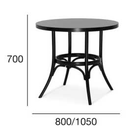 Medidas Mesa redonda en madera de haya 0006. Para hostelería