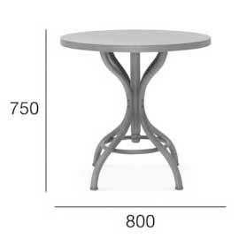 Medidas Mesa redonda en madera de haya 9718. Para hostelería