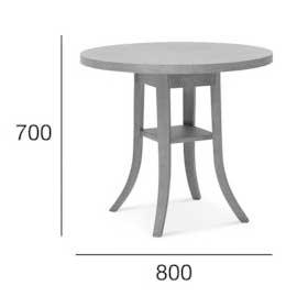 Medidas Mesa redonda en madera de haya 9744. Para hostelería