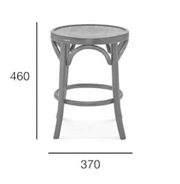 Medidas Taburete de bar en madera de haya 9739.3, para hostelería.
