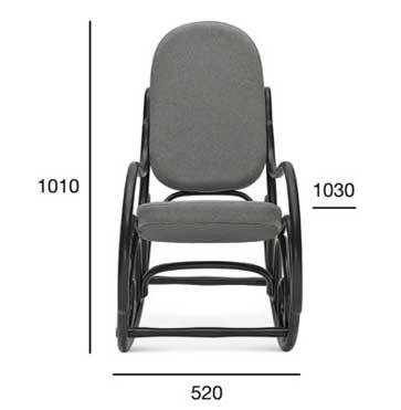 Medidas Mecedora caracolas en haya, asiento y respaldo tapizado. Para hostelería