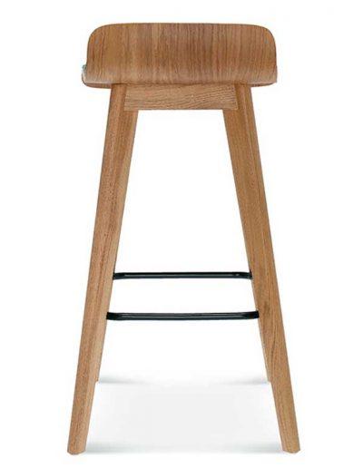 Taburete de bar en madera de haya o roble Cleo 2, Trasera, para hostelería