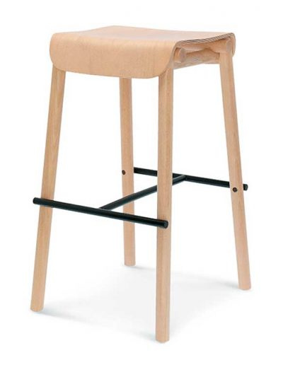 Taburete de bar en madera de haya o roble Nod 1. Para hostelería