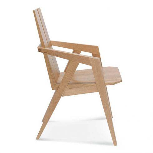 Sillón madera de haya o roble Vero, Perfil, para hostelería